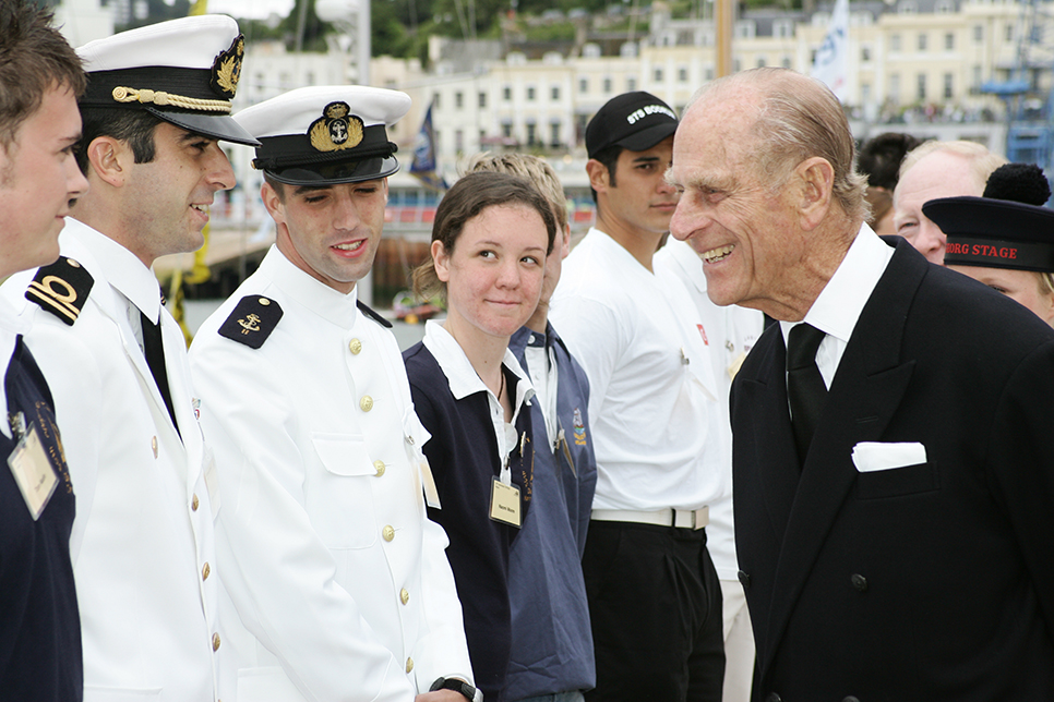 The Duke of Edinburgh visits the Tall Ships Races in 2006 as part of their 50th anniversary celebrations.
